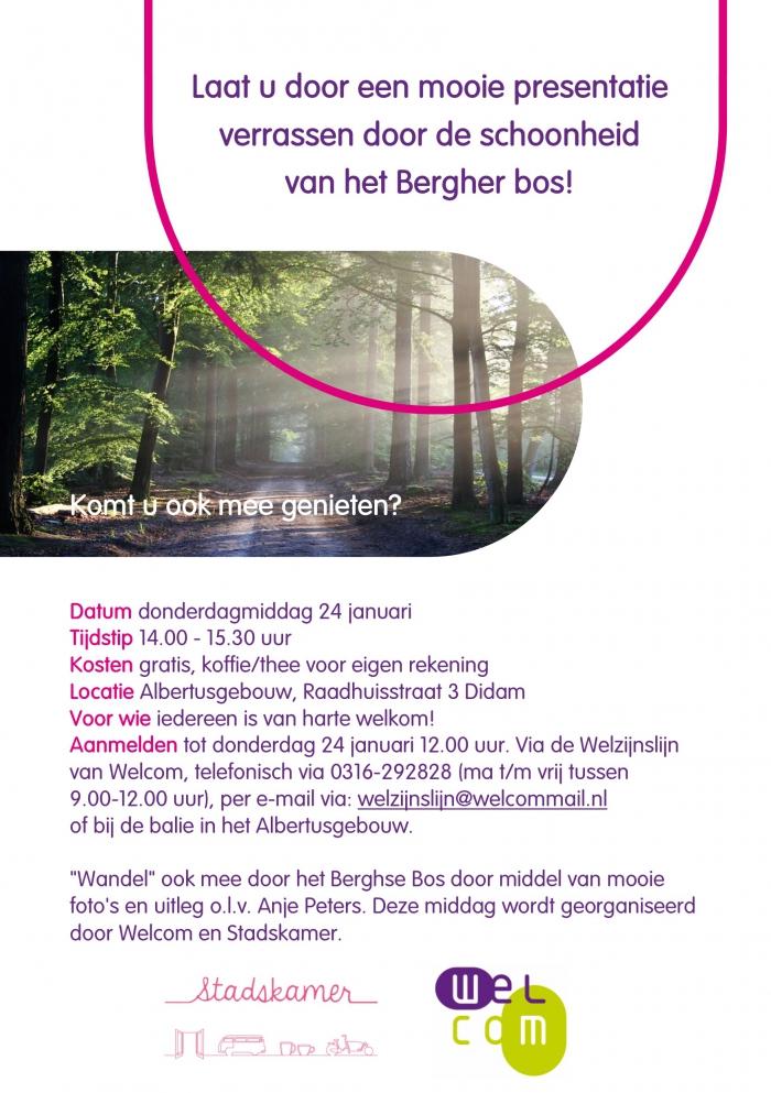 Mooie fotopresentatie op donderdagmiddag 24 januari over het Bergher Bos in het Albertusgebouw.