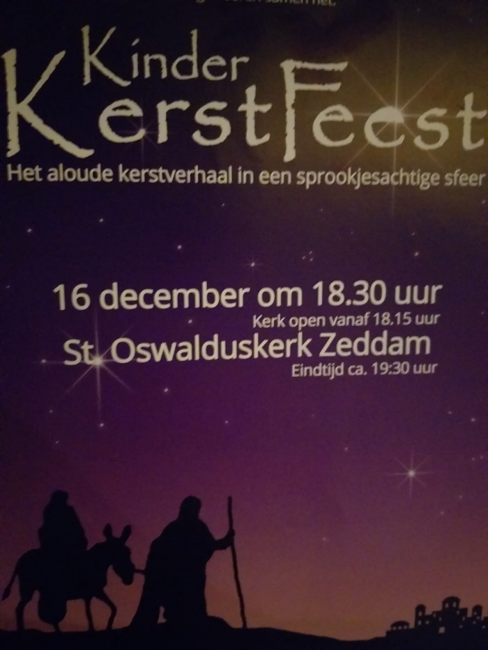 Zondag 16 december: Kinderkerstfeest met o.a. Sam Sam in St. Oswalduskerk in Zeddam
